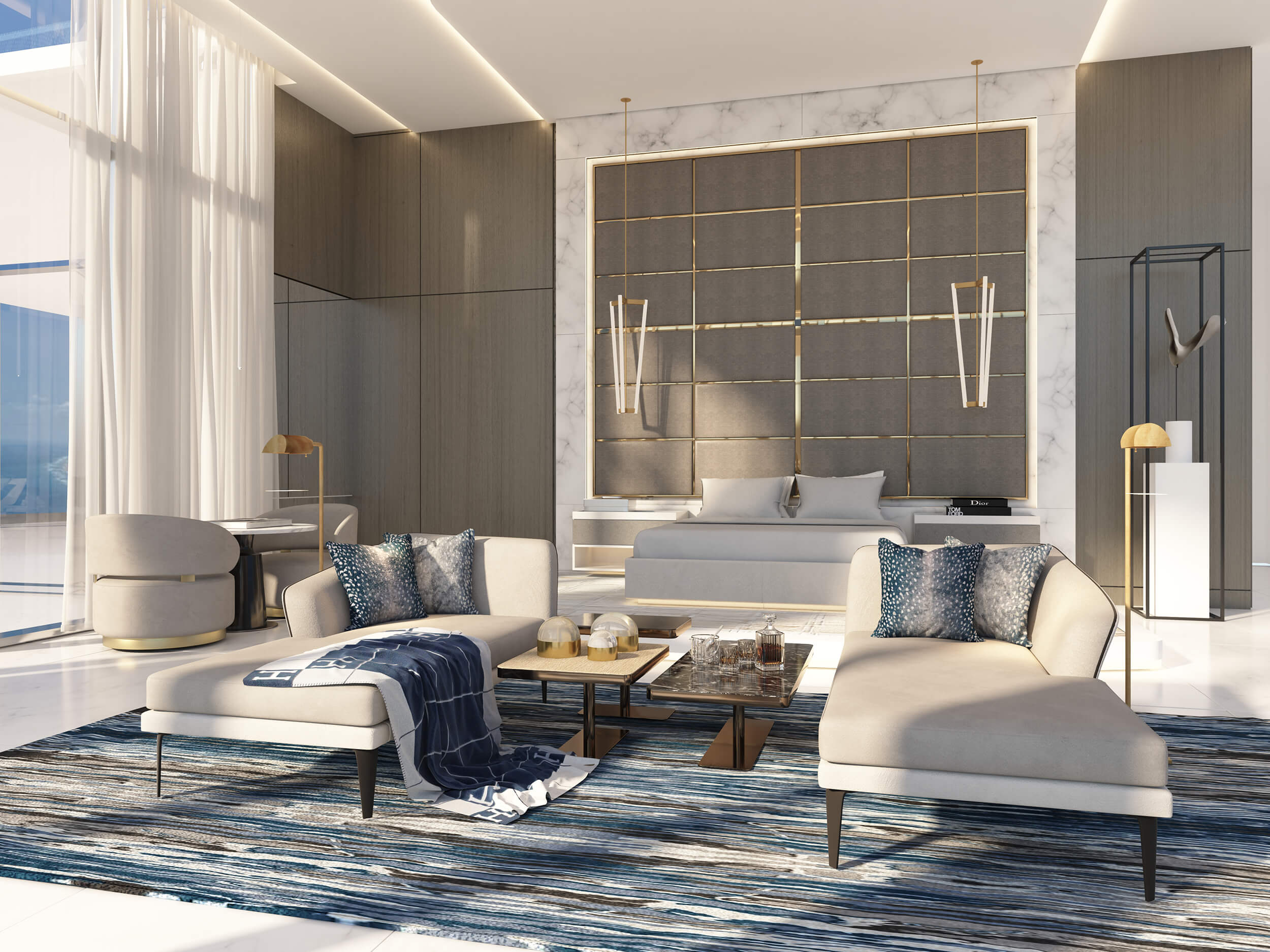 Master bedroom design by Britto Charette for our client at the Ritz Carlton Residences in Sunny Isles Beach