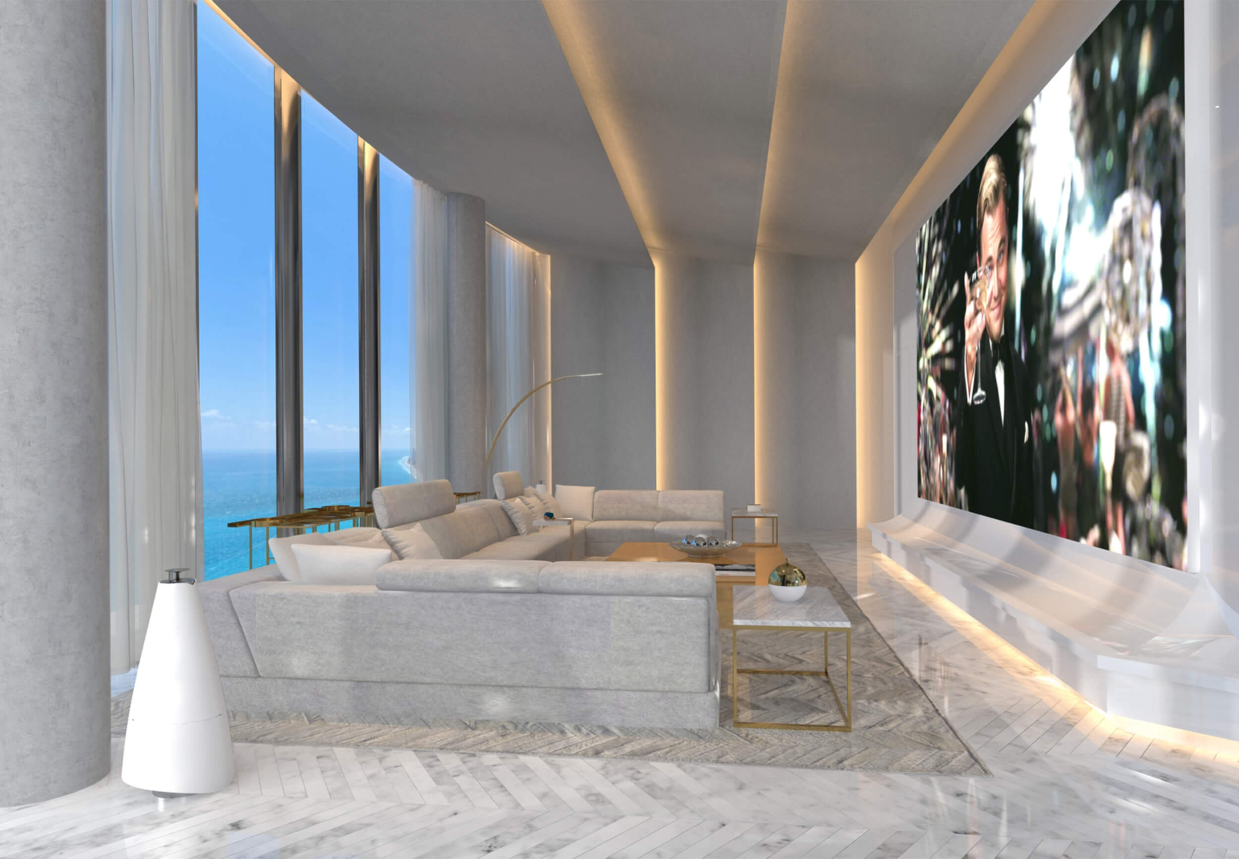 Media room design for the PH at the Ritz Carlton Residences in Sunny Isles Beach