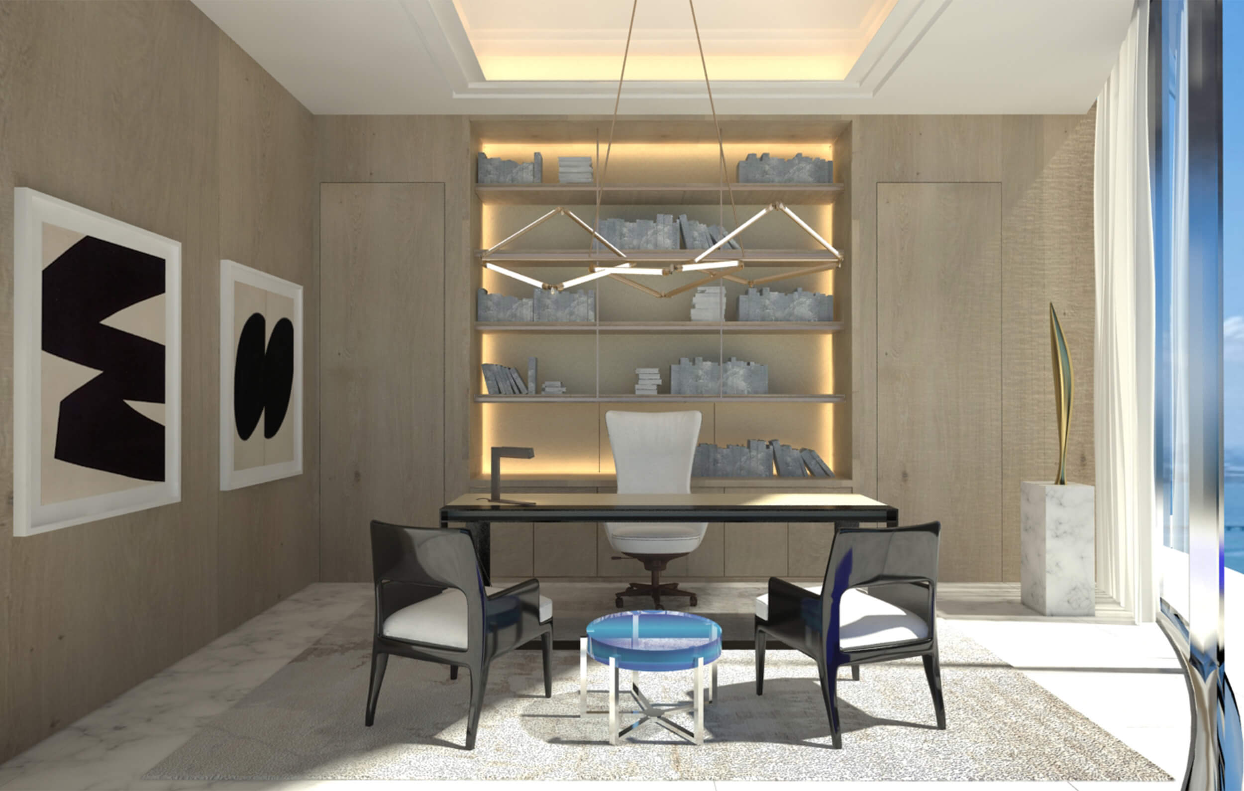 Rendering of the proposed study for our client at Ritz Carlton Residences PH in Sunny Isles Beach