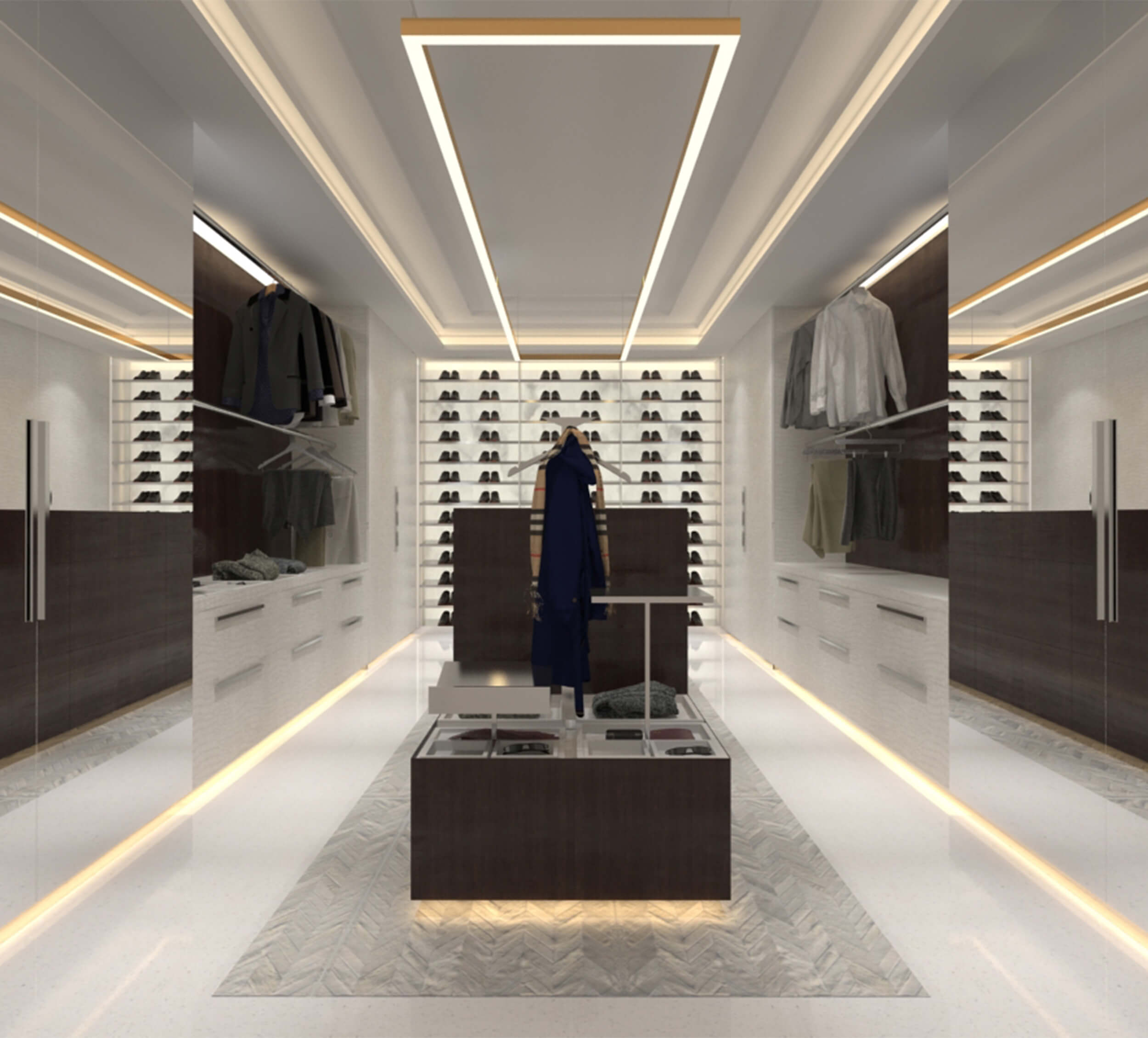 Master bedroom closet design by Britto Charette for the PH at Ritz Carlton Residences in Sunny Isles Beach