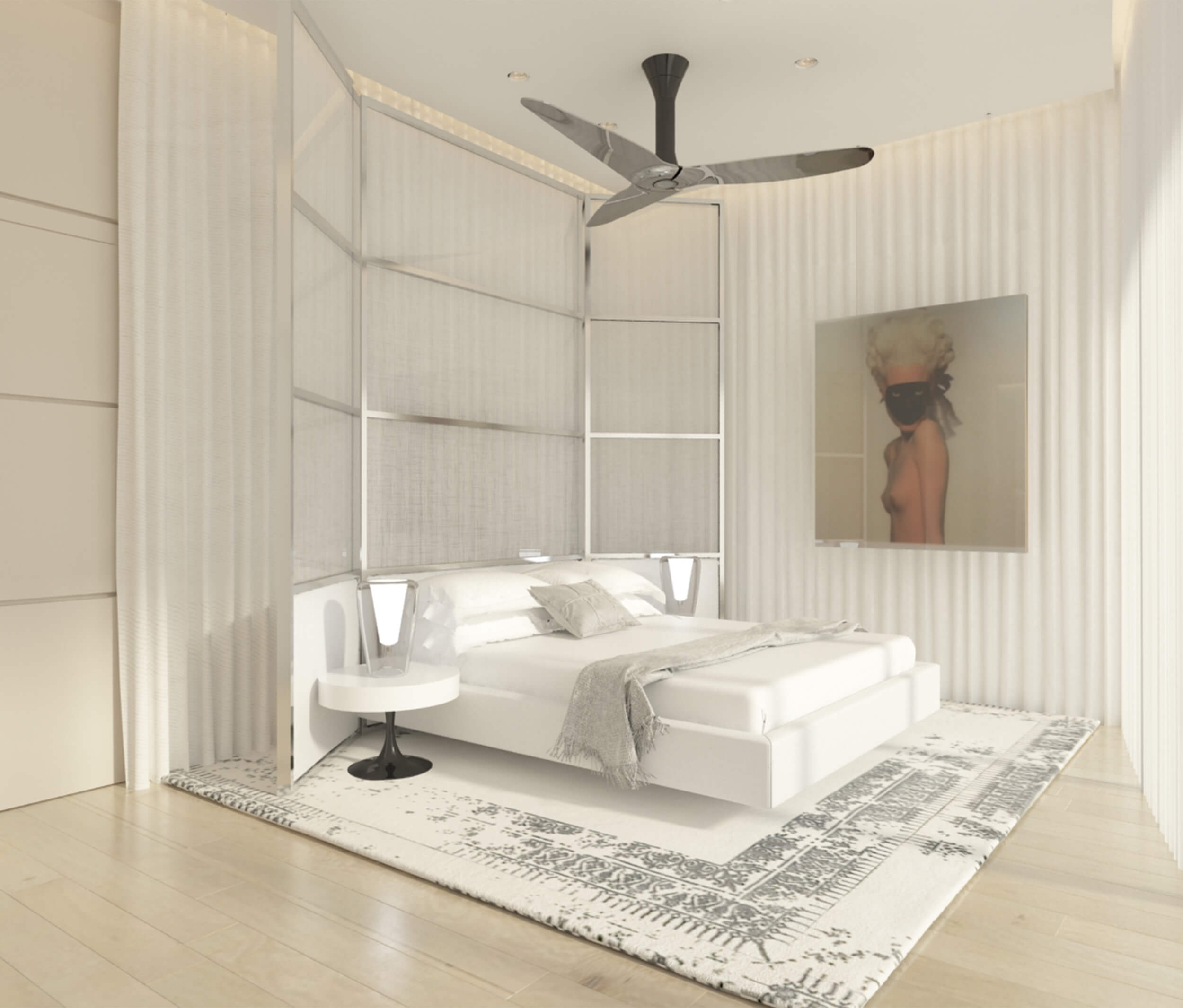 Bedroom design by Britto Charette for the PH at Ritz Carlton Residences in Sunny Isles Beach